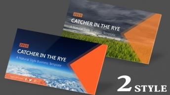 【2合1】自然风麦田冰蓝双风格时尚大气商务报告模板