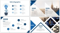 蓝色画册级别商务汇报PPT模板示例5