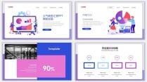 蓝紫插画风商务年终汇报PPT模板示例3