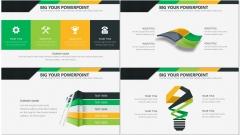 黄绿简洁风商务PPT模板示例5