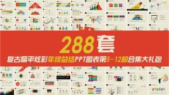 复古扁平年终总结PPT图表合集第5-12部288套