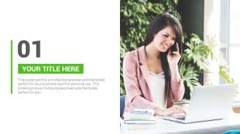 绿色清新商务汇报PPT模板示例4