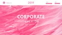 【簡約商務】粉色紋理質感風格雜志PPT模板