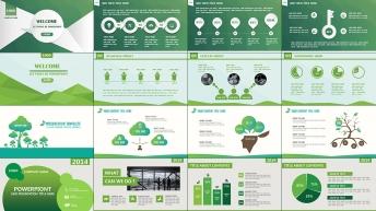 清新绿色创意现代商务汇报总结通用模板【四套合集】