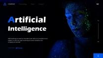 蓝色科技风人工智能AI商务汇报模板