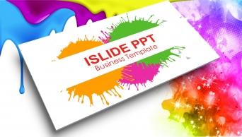 炫彩噴濺彩色水墨高端精美實用匯報PPT咨詢模板