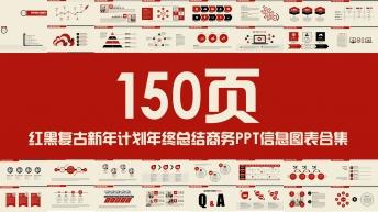 复古红黑新年计划年终总结PPT信息图表合集