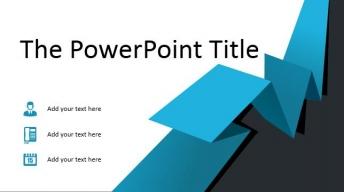简洁蓝色折纸风商务PPT模板