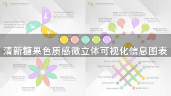 清新糖果色质感微立体信息图表模板