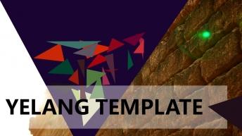 无规则多色三角形杂志风商务模板——秋