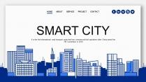 【智慧城市】蓝色创意城市剪影科技IT商务通用PPT