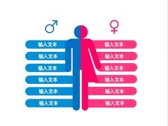 男女多项对比图PPT图表(双色应用)