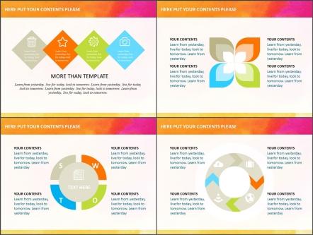 水彩多色扁平可视化商务模板