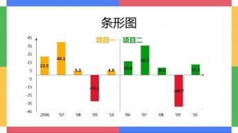 蓝红黄绿四色组合之二 商务通用PPT示例7