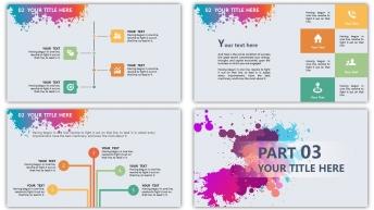 彩色星球泼墨风格精致多用型商务模板(双配色)示例5