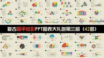 复古扁平炫彩年终总结PPT信息图表合集第三部42套