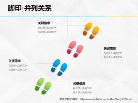ppt素材 ppt图表 脚印·4部分并列关系
