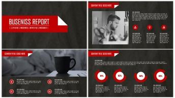 大气创意黑红现代商务总结汇报PPT模板