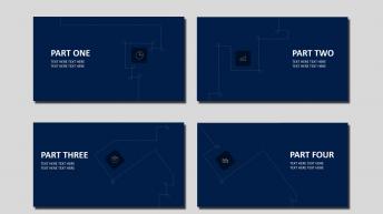 【高度可编辑】蓝白黑简约商务信息图表模板