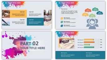 彩色星球泼墨风格精致多用型商务模板(双配色)示例4