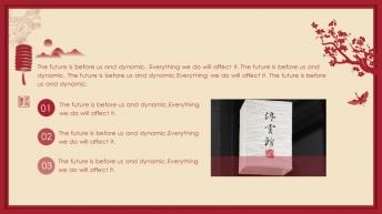 宅寂系列18:喜庆红国际范中国风大气提案工作总结示例5