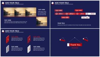 【稳重实用】蓝红色高端大气商务PPT模板示例7