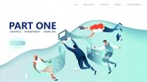 【商务插画】公司科技总结流程创意视觉形象推广团队模示例3