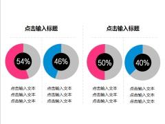 环形百分比数据图PPT图表(双色应用)