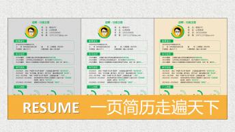 【实用性】一页纸求职简历PPT模板(3色)