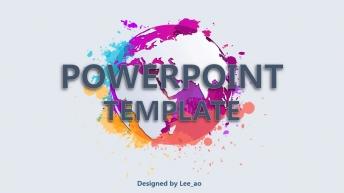 彩色星球泼墨风格精致多用型商务模板(双配色)示例2