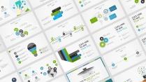 【蓝绿双色微立体商务图表26页】创意关系图表
