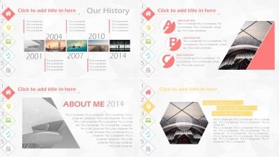 【网页风格】简约多彩图文混排商务报告/简介模板二图片