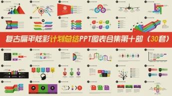 复古扁平炫彩计划总结PPT信息图表合集第十部30套