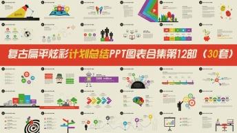 复古扁平炫彩计划总结PPT图表合集第12部30套