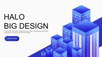 【蓝色城市】大气立体视觉商务科技互联网工作PPT