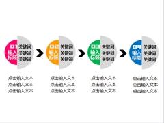 四项递进关系PPT图表(双色应用)