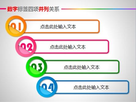 【数字标签四项并列关系ppt图表ppt模板】-pptstore