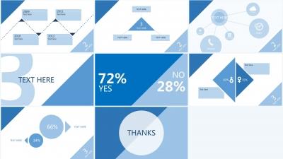【蓝色三角形简洁风格【商务】【展示】ppt模板】