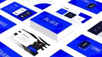 一份蓝色妖姬艺术感设计&简约年中工作总结汇报