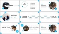 蓝色欧美风商务汇报PPT模板示例3