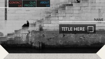 非黑即白1高端商务纹理质感欧美网页杂志风PPT模板