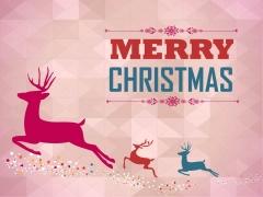 梦幻多边形背景复古风格2014圣诞节主题PPT模板