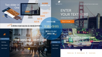 UI风格导航栏时尚精致商务汇报ppt模板1
