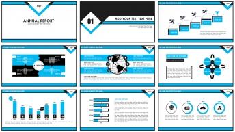 蓝黑扁平商务新年计划年终总结PPT模板