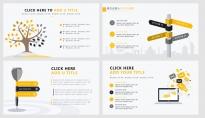 【黄色扁平商务图表30页】创意关系图表 简洁浅色5示例3