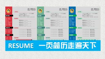 【通用性】一页纸求职简历PPT模板(3色)