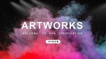 【抽象粉末】创意撞色工作计划汇报模板示例2