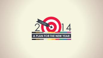 2014找准目标复古简约商务计划总结PPT模板