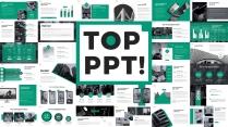 【绿色】微立体欧美纯色简约杂志风科技商务模板