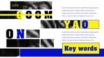 【蓝亮色】蓝黄亮色线条潮工作汇报PPT模板示例4